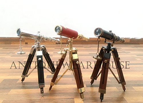 Collectible Desk Solid Brass Telescope With Wooden Stand Nautical Ship Telescope by Antique House