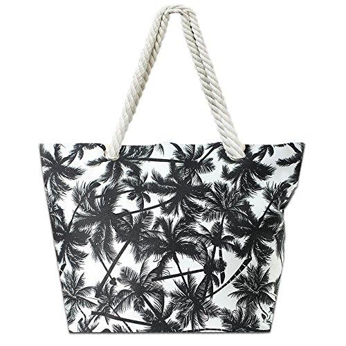 Cheap Lizimandu Beach Bag Canvas Tote Bag With Inner Zipper Pocket – Tote with Rope Handles(Black Leaves)