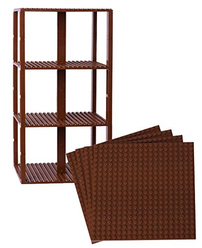 Strictly Briks Classic Baseplates 6 x 6 Brik Tower 100% Compatible with All Major Brands   Building Bricks for Towers and More   4 Brown Stackable Base Plates & 30 Stackers