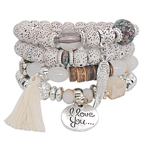 ❤️Jonerytime❤️ 4PC I Love You Natural Stone Crystal Beaded Multilayer Bracelet Ladies Jewelry ()