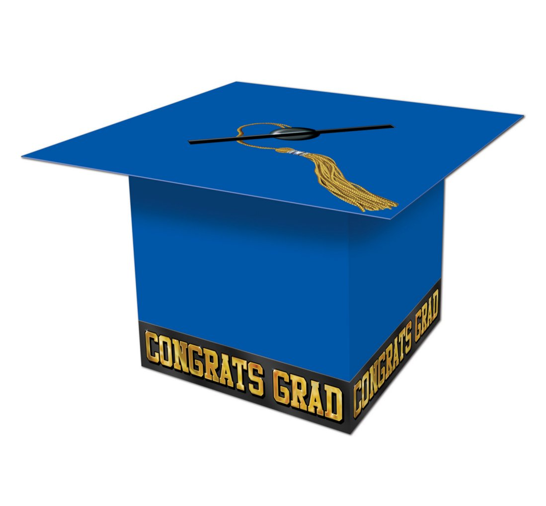 Pack of 6 Blue Graduation Cap ''Congrats Grad'' Party Gift Card Boxes 8.5''