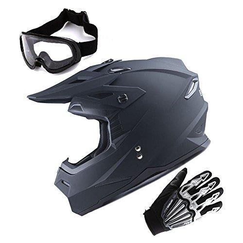 (1Storm Adult Motocross Helmet BMX MX ATV Dirt Bike Helmet Racing Style Matt Black; + Goggles + Skeleton Black Glove Bundle)