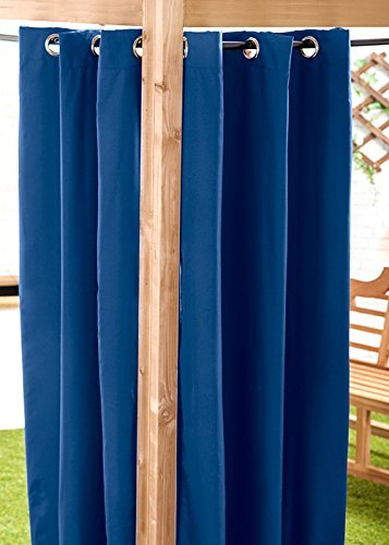 Blue Water Resistant Ready Made Outdoor Eyelet Curtain 55