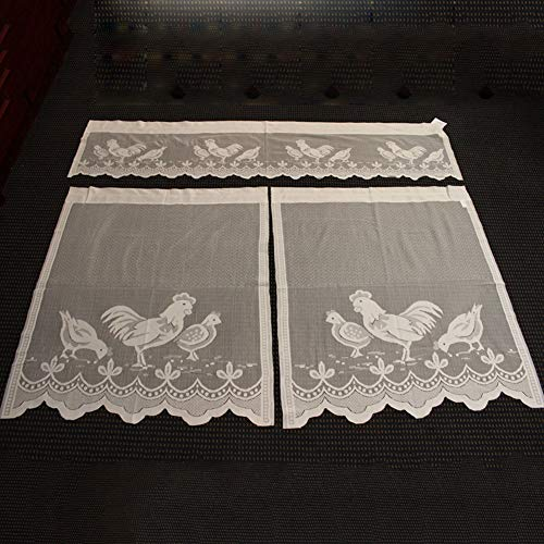 Yooha Easter Kitchen Curtain Set Cute Cock Pattern Lace Curtain, Fashion Light Flow Net Curtain Window Balcony Valance Screen Panel - 1Curtain Head + 2 Curtains Tiers(L)
