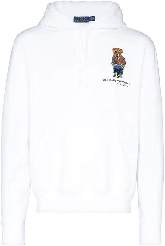 Felpa Ralph Lauren LS Po Hood Polo Bear Blanco Hombre XL Blanco ...