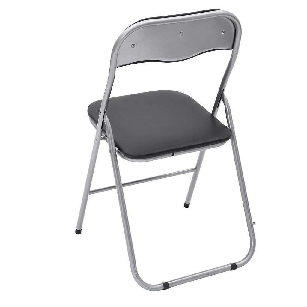 Homefami Ergonomical Backrest Folding Chairs Steel Pipe PU Leather Leisure Chair Office Chair Multifunction Portable for Outdoor Indoor Camping Patio