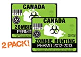 Canada-ZOMBIE HUNTING PERMIT TAG-2 PACK-DECAL STICKER-LICENSE-2012/2013-CAN