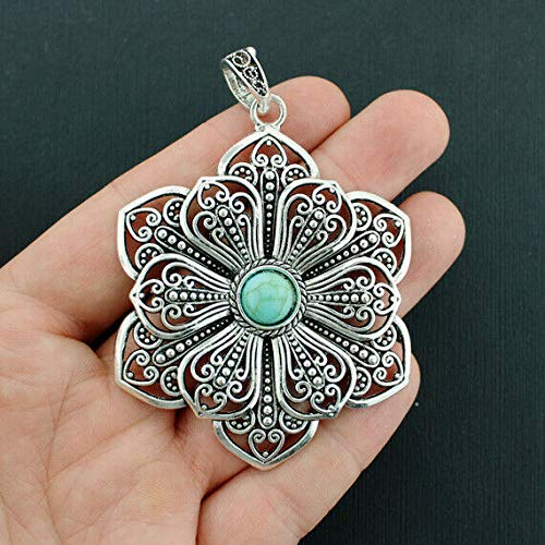 - Extensive Collection of Charm Filigree Flower Charm Antique Silver Tone Imitation Turquoise Stone - SC6513 Express Yourself