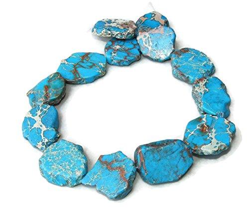 Light Blue Impression Jasper- Aqua Terra Jasper - Imperial Jasper Stone Slab Bead - Center Drilled - 15 inch Strand - 30mm - 35mm
