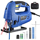 TOPELEK Jig Saw, 6.5Amp 3000SPM Laser Jig Saws with Laser Guide, LED Light, 6 Variable Speed,[-45°-45°]Bevel Cutting Angle, Accessories including 6PCS Jigsaw Blades, Guider Ruler, Allen Wrench in Carrying Case, for Wood, PVC, Metal Cutting