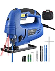 【3000SPM 780W】Holife Jigsaw Tools with Laser Guide, Multi-Functiona, 6 Adjustable Speeds, Double Bevel Cutting, 6 Blades, Dust Extractor Port, Carrying Case, Ideal for Cutting Wood, Plastic, Aluminum