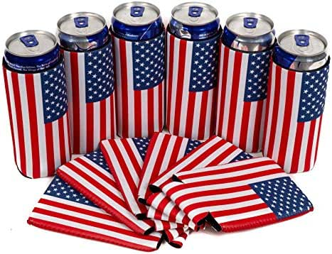 QualityPerfection - 6 Slim Can Cooler Sleeves - Beer Skinny 12 oz Neoprene Coolies - Perfect For 12 oz Slim Red Bull, Michelob Ultra, Spiked Seltzer,Truly,White Claw (6, USA Flag)