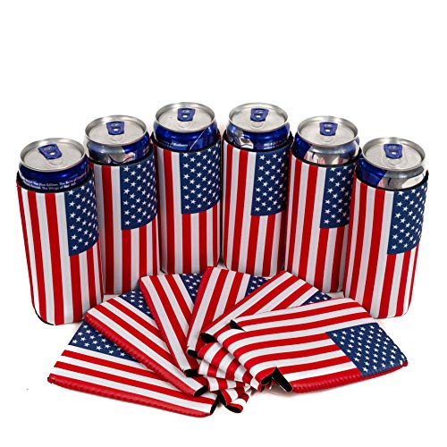 QualityPerfection - 8.4 oz Mini Slim Blank Can Sleeves - Slim Beer Can Coolers - Great 4 12oz RedBull, Soda, Bud Light (Flag, 6)