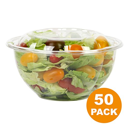 Lid Containers Dome (Clear Plastic Bowl With Dome Lids for Salads Fruits Parfaits, 32oz, Disposable, Medium Size [50 Pack])
