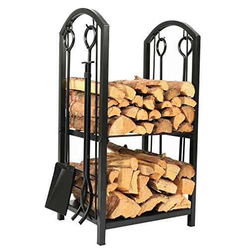 High Iron Firewood Log Rack with Fireplace Tool Set ()