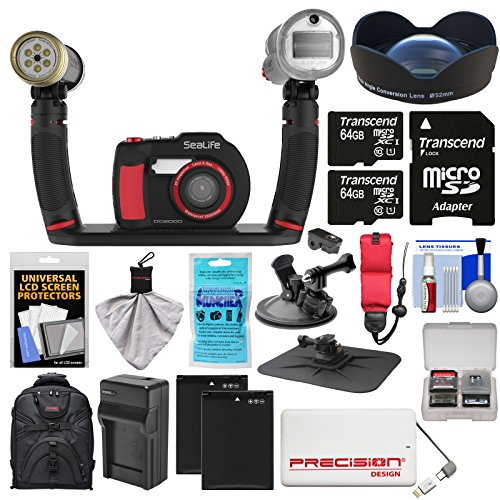 Sea Camera Life Lens (SeaLife DC2000 HD Underwater Digital Camera with Sea Dragon Pro Duo Light & Flash Set + Wide Angle Lens + 2 64GB Cards + Batteries & Charger + Backpack Kit)