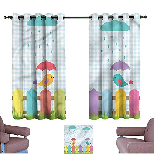 Mannwarehouse Birds Kids Room Curtains Funny Colorful Birds Cartoon Darkening and Thermal Insulating 63