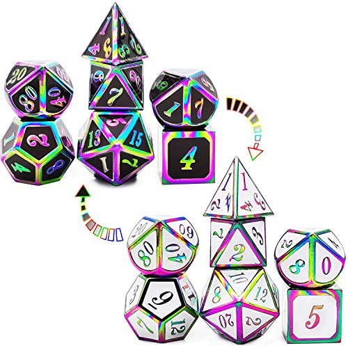 HAOMEJA Color Changing Temperature Metal DND dice kit, D&D dice Set Role Playing Dice Dungeons and Dragons Black Transition White