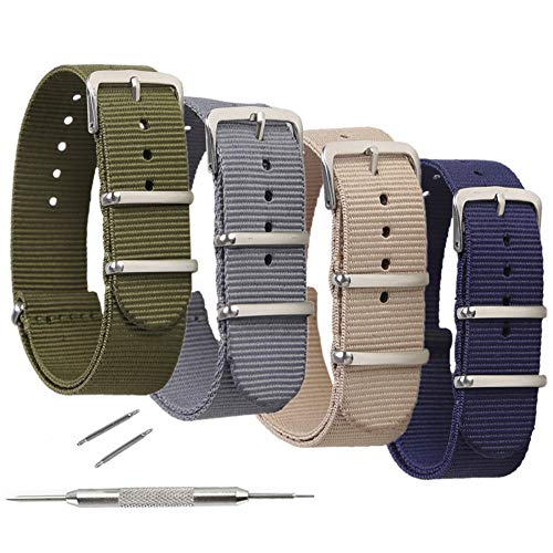 4 Pack NATO Watch Bands,STYLELOVER Ballistic Nylon Watch Straps - Choices of Colors & Widths 16mm 18mm 20mm 22mm or 24mm (Timex Watch Strap 16mm)