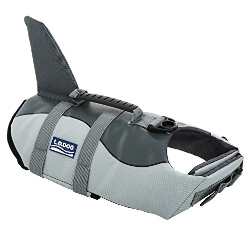 Queenmore Ripstop Large Dog Life Jacket Fish Style Floatation Vest with Adjustable Soft Rubber Handle Grey Shark,L -