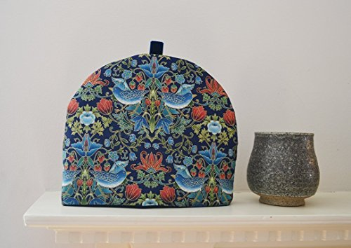 Inspired William Morris (Art Nouveau Bluebirds of Happiness - Artisanal Insulated Tea Cozy - Bluebirds and Flowers William Morris Inspired Print - 1 Small Only)