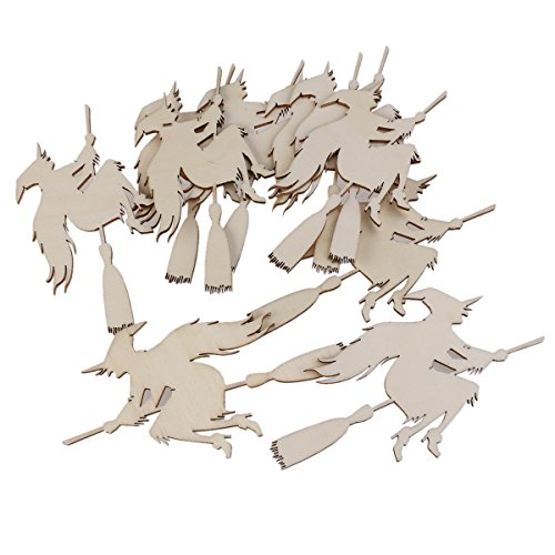 Vosarea 10PCS Halloween Decoration Witch on The Broom Pendant with Ropes Hanging Embellishments Decotaitve Wooden Pieces Crafts Cutout Shape ()