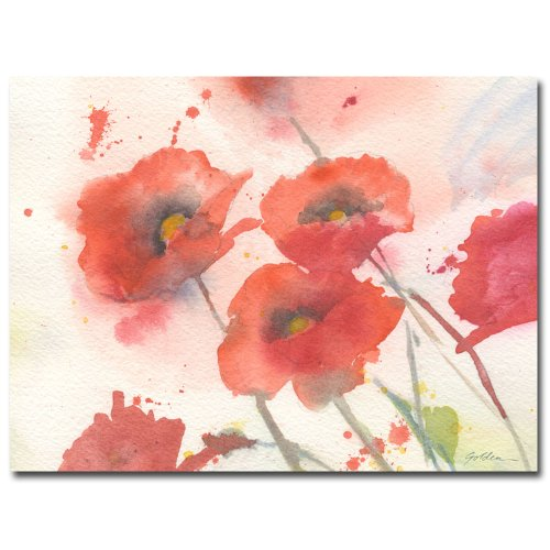 - Swaying Red Poppies by Sheila Golden, 18x24 inches Canvas Wall Art