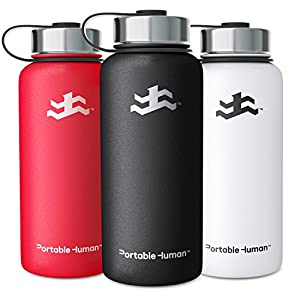 Portable Human 32oz Water Bottle - Vacuum Insulated Stainless Steel - Large Gym Hydro Sports Flask - Wide Mouth (Black)