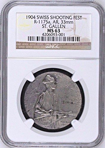 1904 CH Swiss 1904 Silver Shooting Medal St Gallen R-1175 coin Good