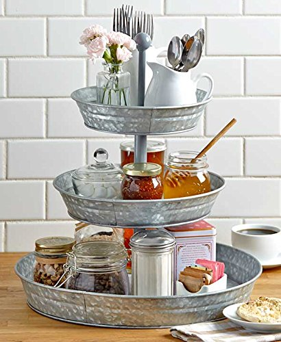 Metal 3 Tier Stand (GetSet2Save BM164575 Vintage Galvanized 3 Tier Serving Tray Rustic Country Farmhouse Kitchen, one size,)
