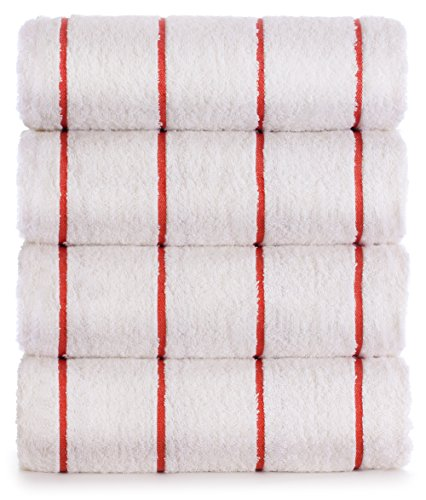 Premium Quality 100% Turkish Cotton Vertical Stripe 4-Pack Pool Beach Towels, Eco-Friendly (Brick Red, 35x65 Inch)