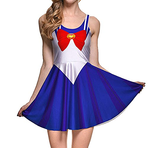BOMBAX Girls Sailor Moon Skater Dress Stretchy Anime Cosplay Costume Mini -