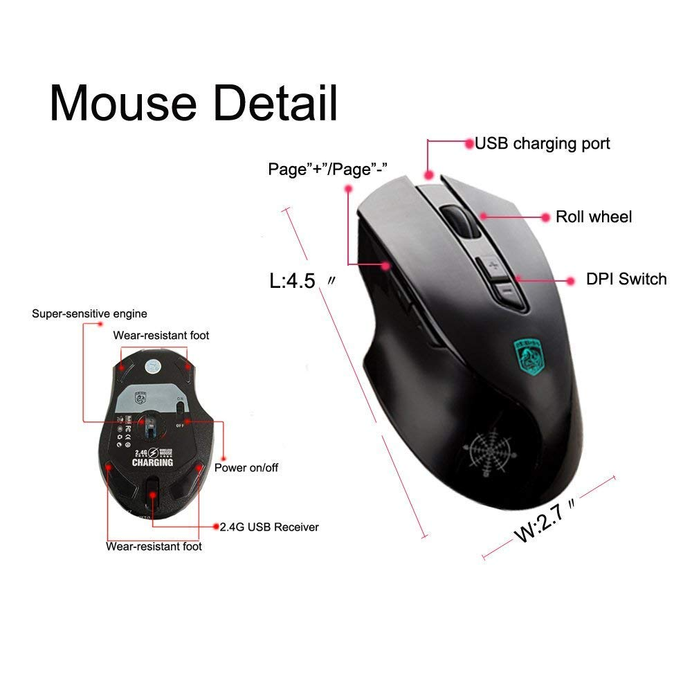 Black LED rainbow backlight multimedia ergonomic USB gaming keyboard 2400DPI rechargeable 6 button gaming mouse rechargeable wireless 2.4G technology Hoopond keyboard and mouse combination