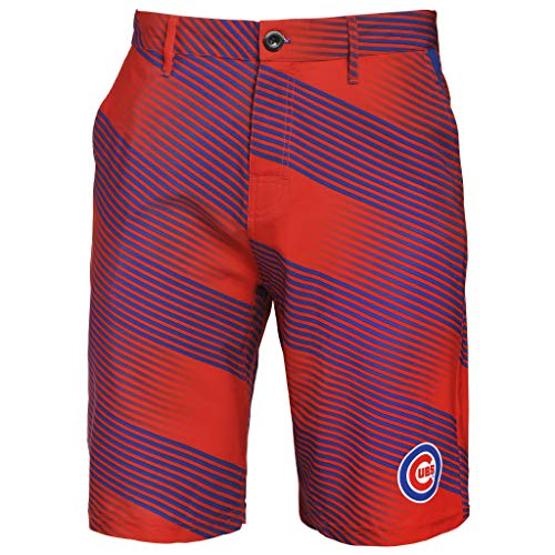 Chicago Cubs Mens Pattern - Klew Mens Diagonal Stripe Walking Shorts Chicago Cubs (Small/32)