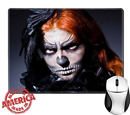 "Luxlady Natural Rubber Mouse Pad/Mat with Stitched Edges 9.8"" x 7.9"" IMAGE ID: 23823677 Scary monster in dark (Bloody Pad Halloween Costume)"