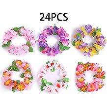 24PCS Luau Tropical Hawaiian Headband Headpiece Leis- Summer/Tiki/Pool Mahalo Flower Party Decorations Favors Supplies