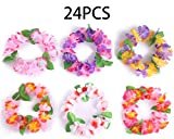 24PCS Luau Tropical Hawaiian Headband Headpiece Leis- Summer/Tiki/Pool Mahalo Flower Party Decorations Favors Supplies