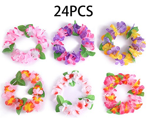 jollylife 24PCS Luau Tropical Hawaiian Headband Headpiece Leis- Summer/Tiki/Pool Mahalo Flower Party Decorations Favors Supplies ()