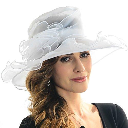 [IL Caldo Women's Kentucky Derby Sun Hat Fascinator Flowers Wide Brim Gauze Hat Headdress,White] (White Top Hat Fascinator)