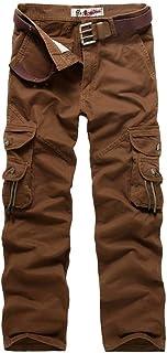 BOLAWOO Pantaloni Mimetici da Uomo Pantaloni Cargo con Army Mens Militari Pantaloni Mode di Marca Sportivi Multitasche da Esterno (Color : Rot, Size : 33)