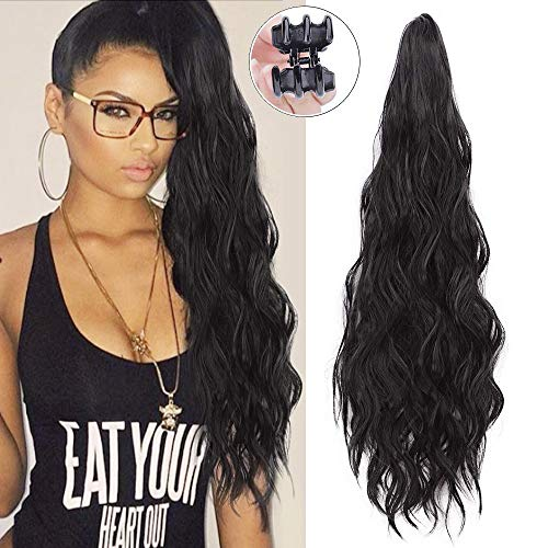 - Synthetic Wavy Curly Drawstring Ponytail Extension Clip in Claw Ponytails Long Curly Ponytail Extension Wavy Synthetic Ponytail Hairpieces for Women Black Color(2#)