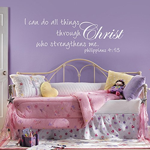MairGwall Religious Inspiration - I Can Do All Things Through Christ who strengthens me - Vinyl Wall Decal Art (White, (Vinyl Rub)