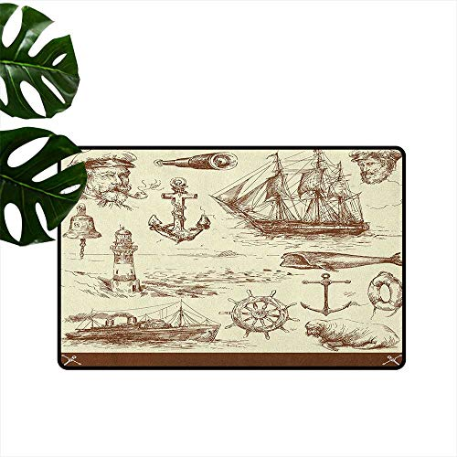 RenteriaDecor Marine Navy Captains,Anti-Slip Doormat Oceanic Theme Retro Style Drawing Effect Framed Nautical Collection 24