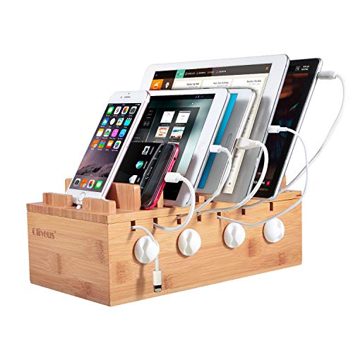 Ollieroo Bamboo Charging Station for 7 Devices