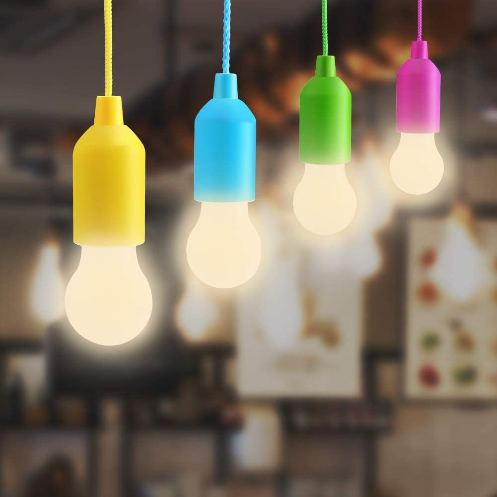 Bjour Pull Cord Light LED Hanging Tent Lamps Camping Night Light Battery Operated Pull Bulb Light Indoor Outdoor Hanging Sting Light for Bedroom Kids Garden, Warm White