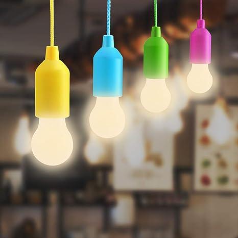 Warmcasa Luz Portatil LED 4 pcs Lámparas de Tirar con Luz Blanco Cálido Iluminación Movible 0.5