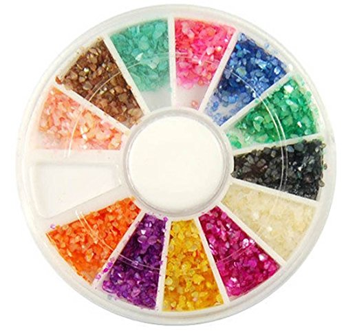 1-Sets Deluxe Popular 3D Acrylic Nail Art Wheels Colorful Decor DIY Tips Salon Supplies Color Style Crushed Shell