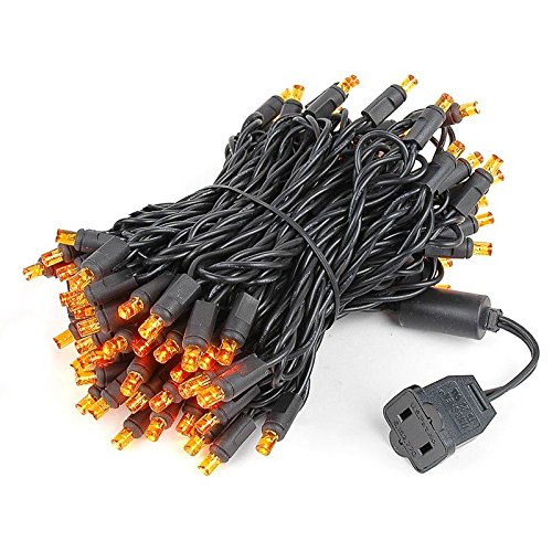 Novelty Lights 100 Light LED Christmas Mini Light Set, Outdoor Lighting Party Patio String Lights, Orange, Black Wire, 34 ()