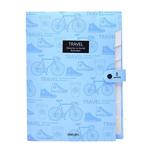 Deli A4 File folder 8 grids portable multi-layer paper bag document organizer package expanding wallet document bag school office supplies (Blue)