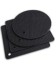 AVANA, siliconen onderzetter, set van 4, premium pannenonderzetter, multifunctioneel, hittebestendig, pannenlap, vaatwasmachinebestendig, antislip, honingraatpatroon (2 rond, 2 vierkant) - zwart